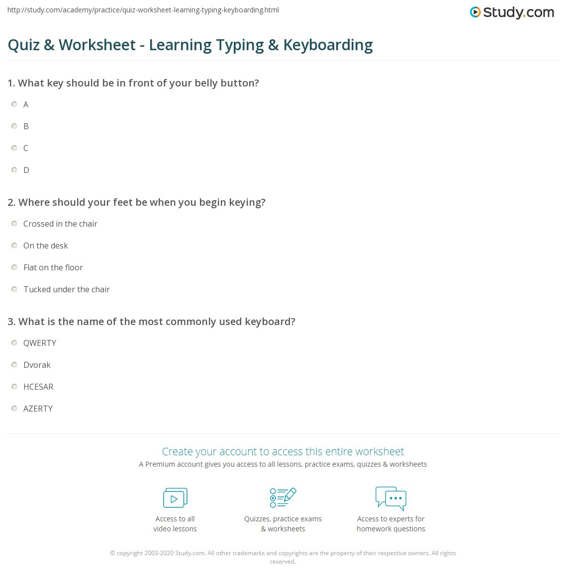 Typing Worksheets Printables Quiz & Worksheet Learning Typing & Keyboarding