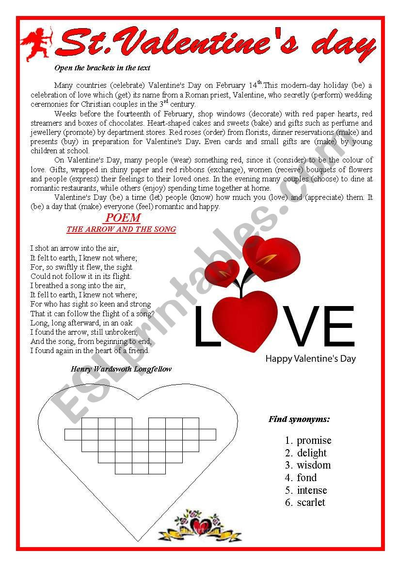 Valentine Day Reading Comprehension Worksheets St Valentine Day Esl Worksheet by Yanina 77