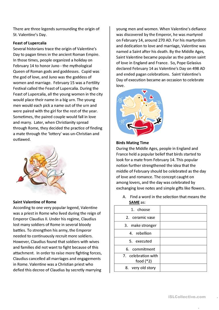 Valentine Day Reading Comprehension Worksheets St Valentine S Day Reading Prehension English Esl
