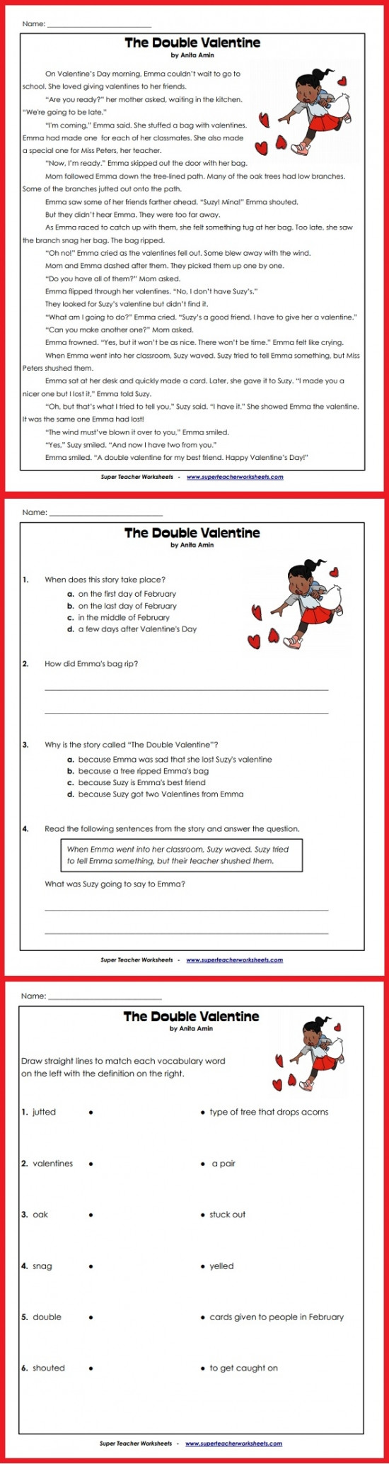 Valentine Day Reading Comprehension Worksheets Valentine S Day Story