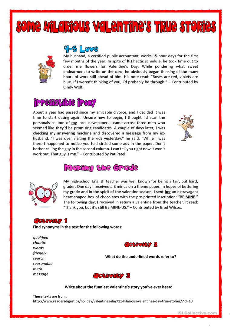 Valentines Day Reading Comprehension Worksheets some Hilarious Valentine S True Stories English Esl