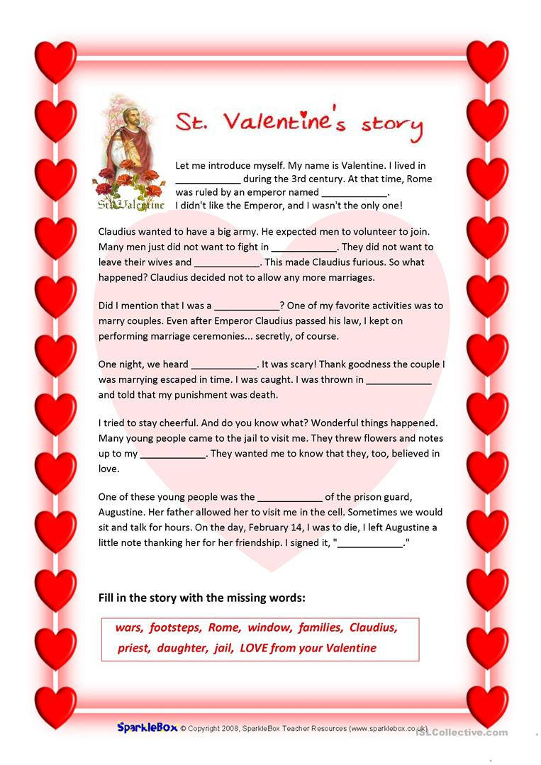 Valentines Day Reading Comprehension Worksheets St Valentine S Story and Valentine S Quiz English Esl