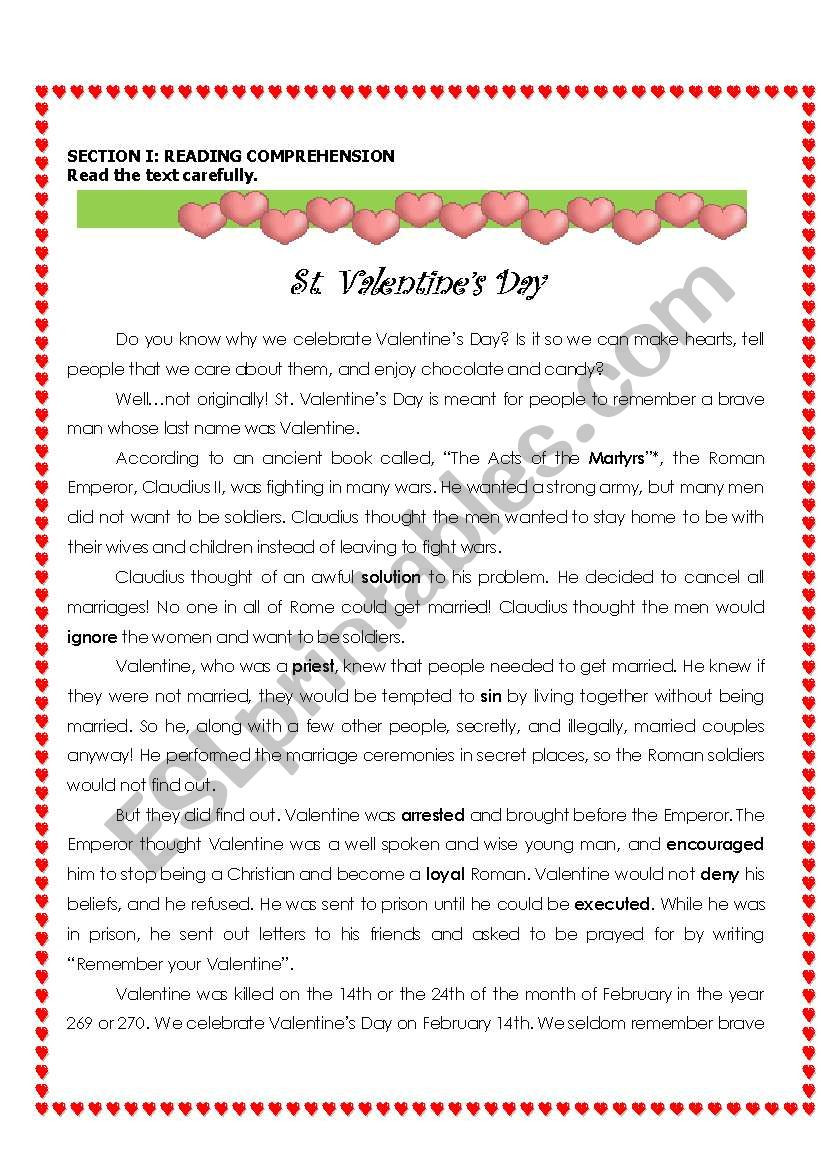 Valentines Day Reading Comprehension Worksheets St Valentine´s Day Reading & Writing Esl Worksheet by Denizt