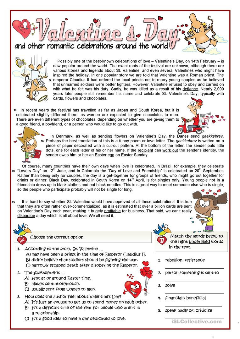 Valentines Day Reading Comprehension Worksheets Valentine S Day B1 Reading and Rephrasing English Esl