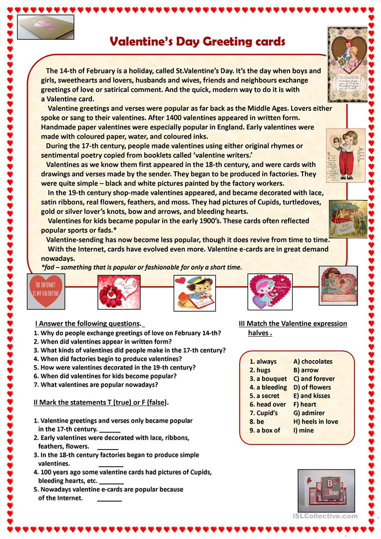 Valentines Day Reading Comprehension Worksheets Valentine S Day Greeting Cards English Esl Worksheets for