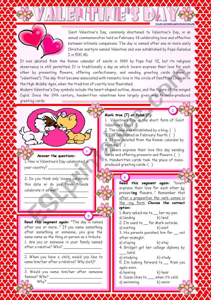 Valentines Day Reading Comprehension Worksheets Valentine S Day – Reading Prehension Grammar Ing