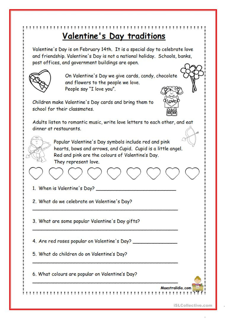Valentines Day Reading Comprehension Worksheets Valentine S Day Traditions English Esl Worksheets for
