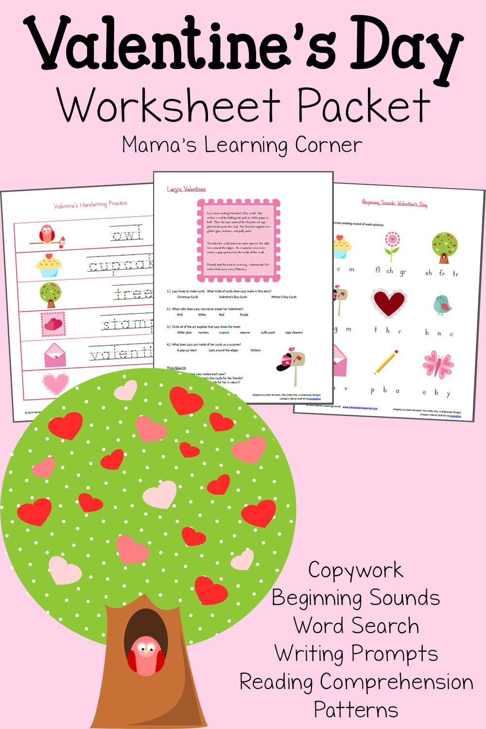 Valentines Day Reading Comprehension Worksheets Valentine S Day Worksheet Packet Mamas Learning Corner
