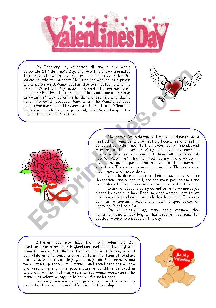 Valentines Day Reading Comprehension Worksheets Valentine´s Day Reading Prehension Esl Worksheet by