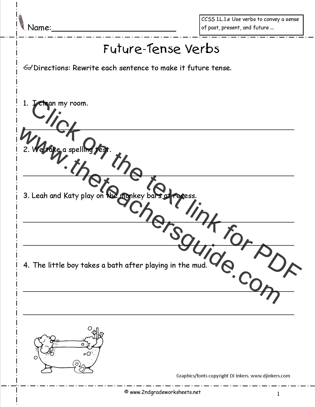 Verb Tense Worksheets 2nd Grade Future Tense Verbs Worksheet