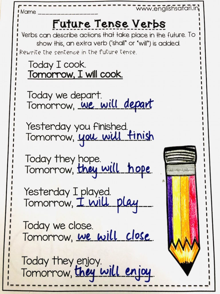 Verb Tense Worksheets 2nd Grade Simple Future Tense Worksheets Free