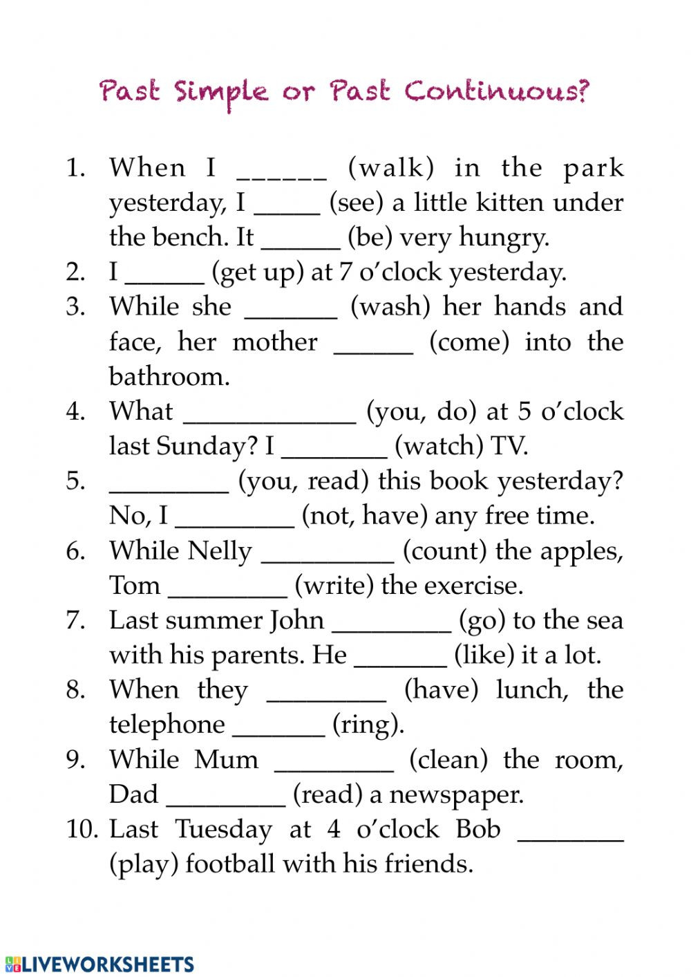 Verb Tense Worksheets 2nd Grade Verb Tenses Interactive Worksheet