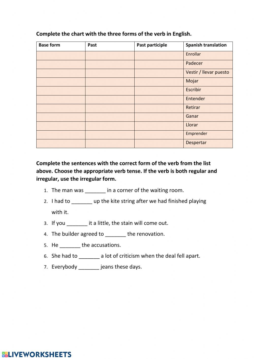 Verb Tense Worksheets High School Irregular Verbs 10 Irregular Verbs Worksheet