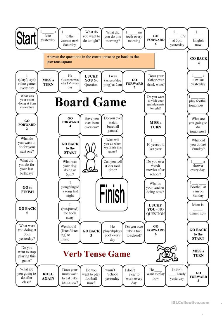 Verb Tense Worksheets High School Verb Tense Game English Esl Worksheets for Distance