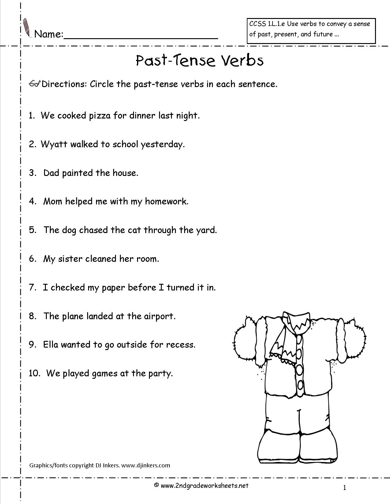 Verbs Worksheet First Grade Simple Past Tense Worksheets Grade 3