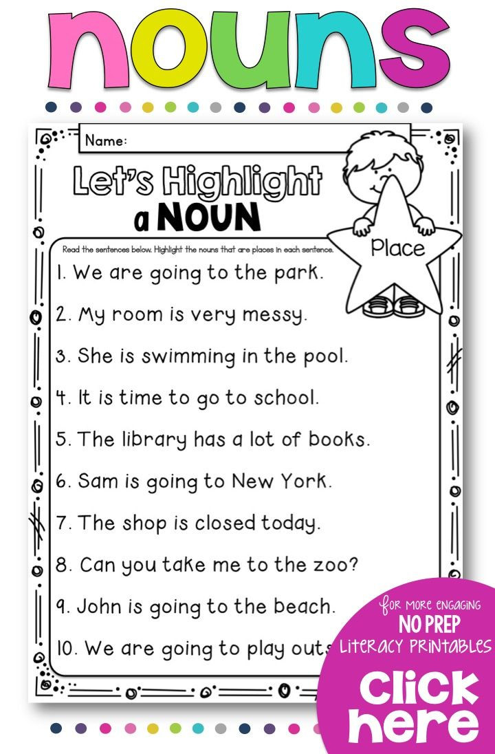 Verbs Worksheet First Grade Teach Your Students All About Nouns with This No Prep