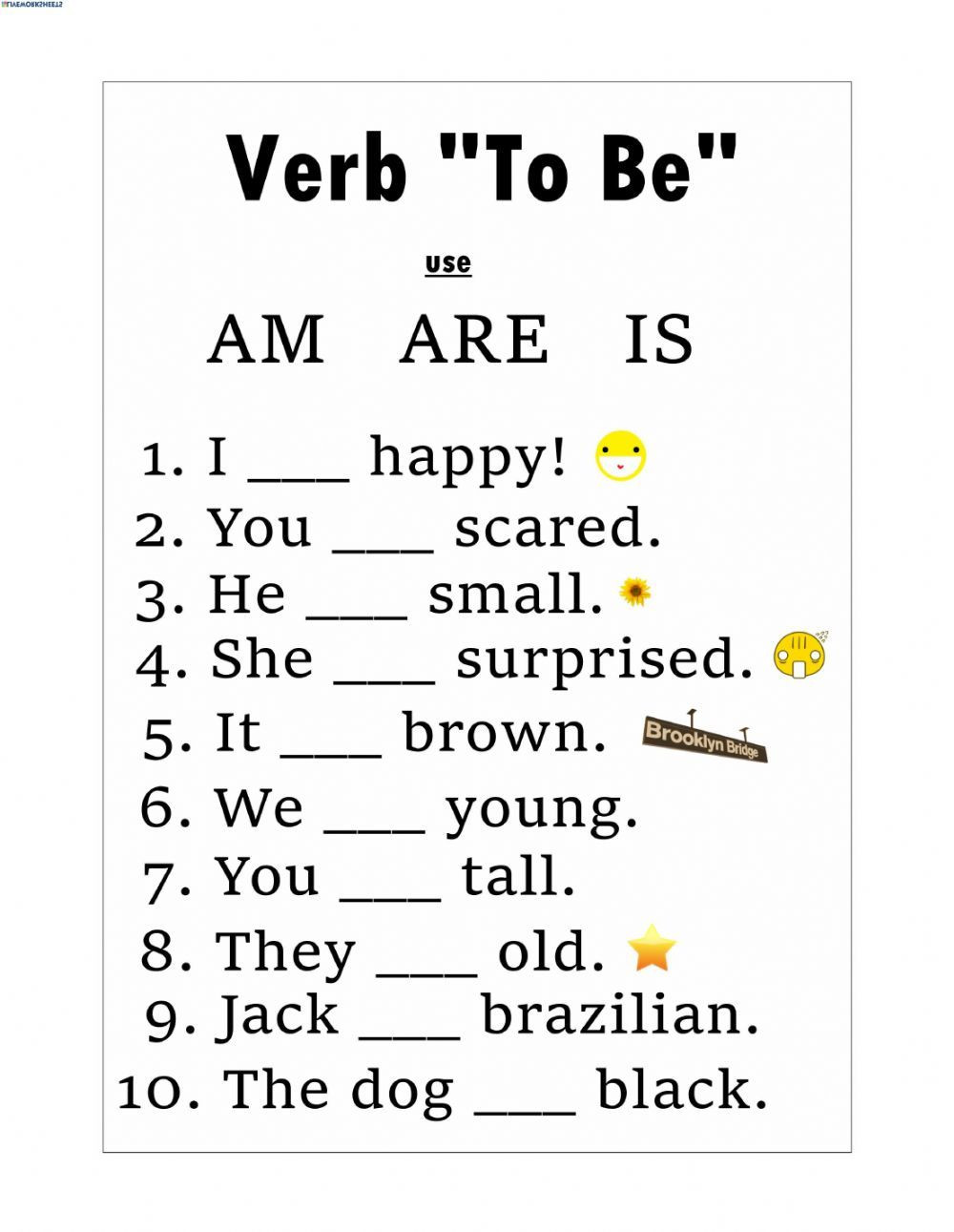 Verbs Worksheet First Grade Verb to Be Interactive and Able Worksheet You Can