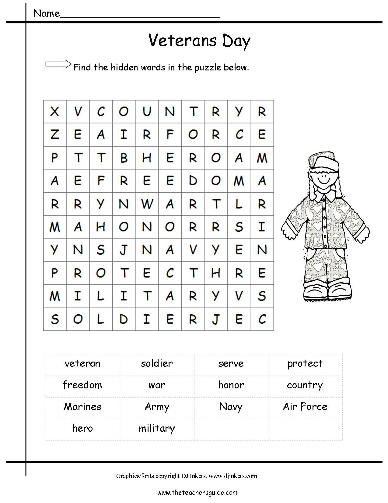 Veterans Day Math Worksheets Short Passage About Veterans Day with Questions Description