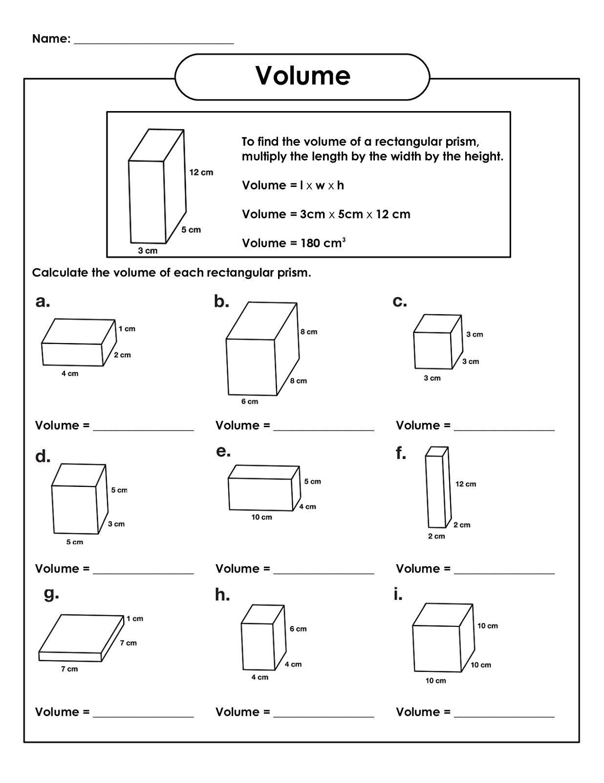 Volume Worksheets 3rd Grade Pin On Volume