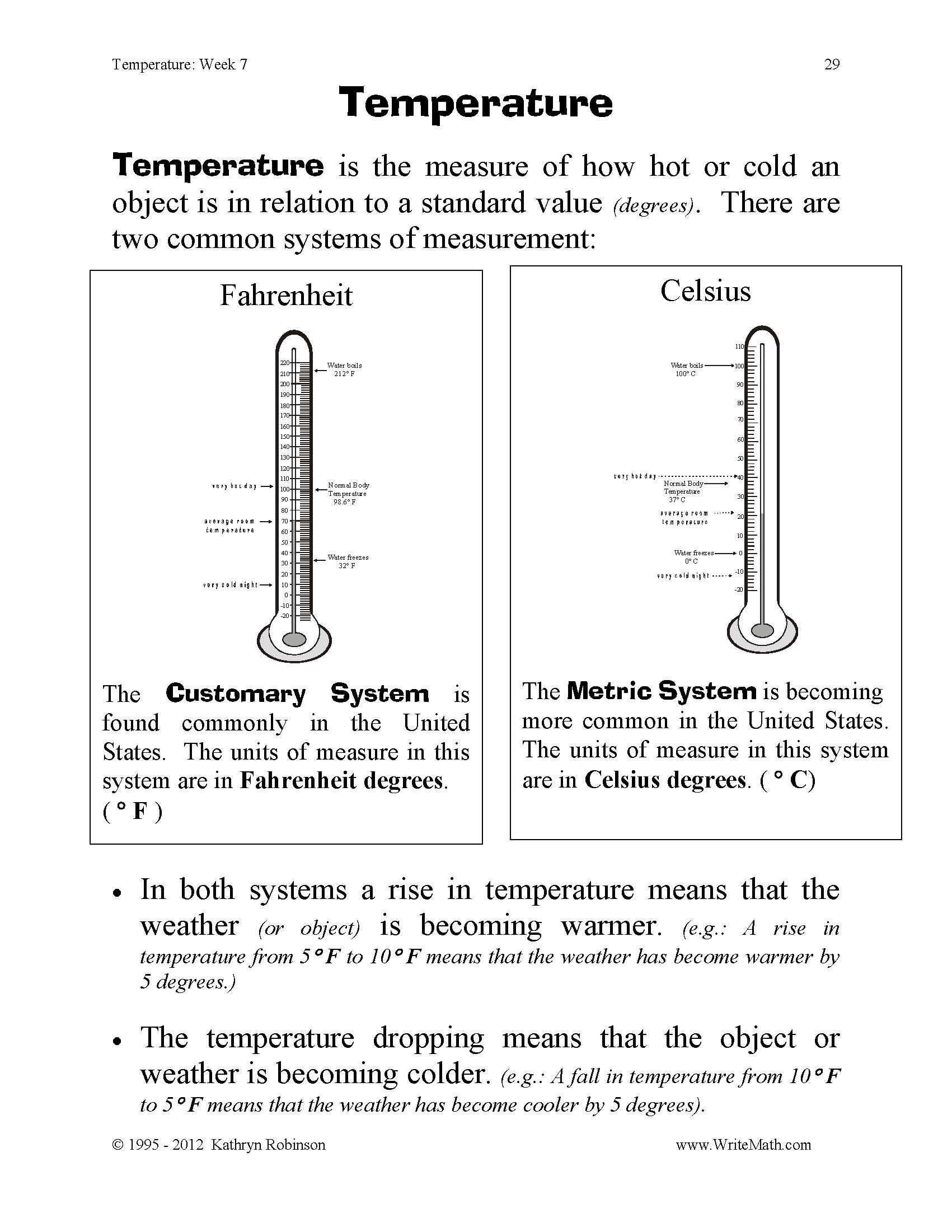 Volume Worksheets 3rd Grade Temperature Worksheet for 4th Grade