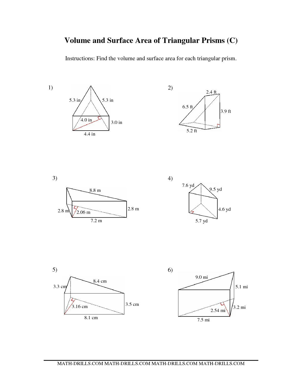 Volume Worksheets 3rd Grade the Volume and Surface area Of Triangular Prisms C Math