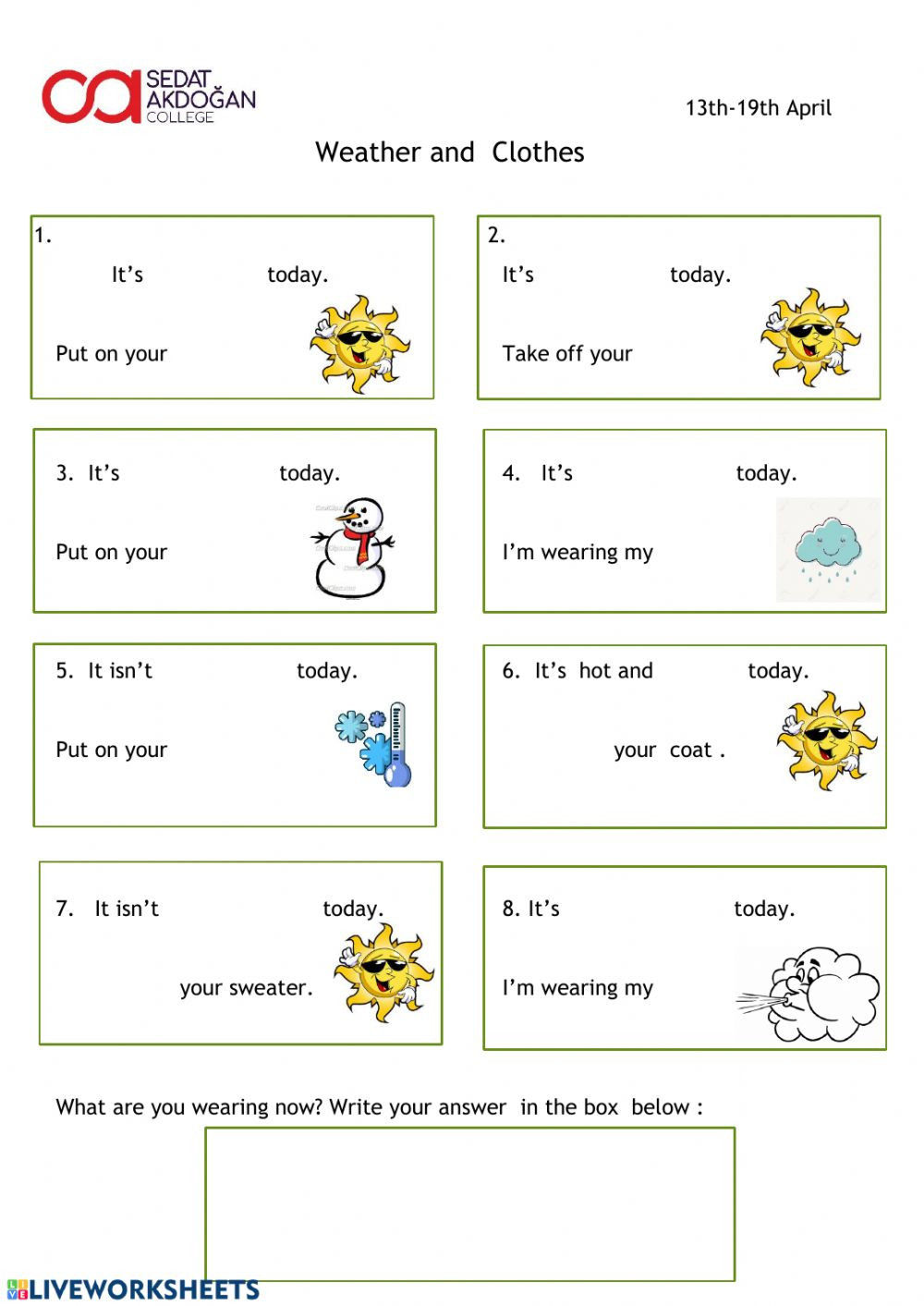 Weather Worksheets for 2nd Grade Weather and Clothes Interactive Worksheet