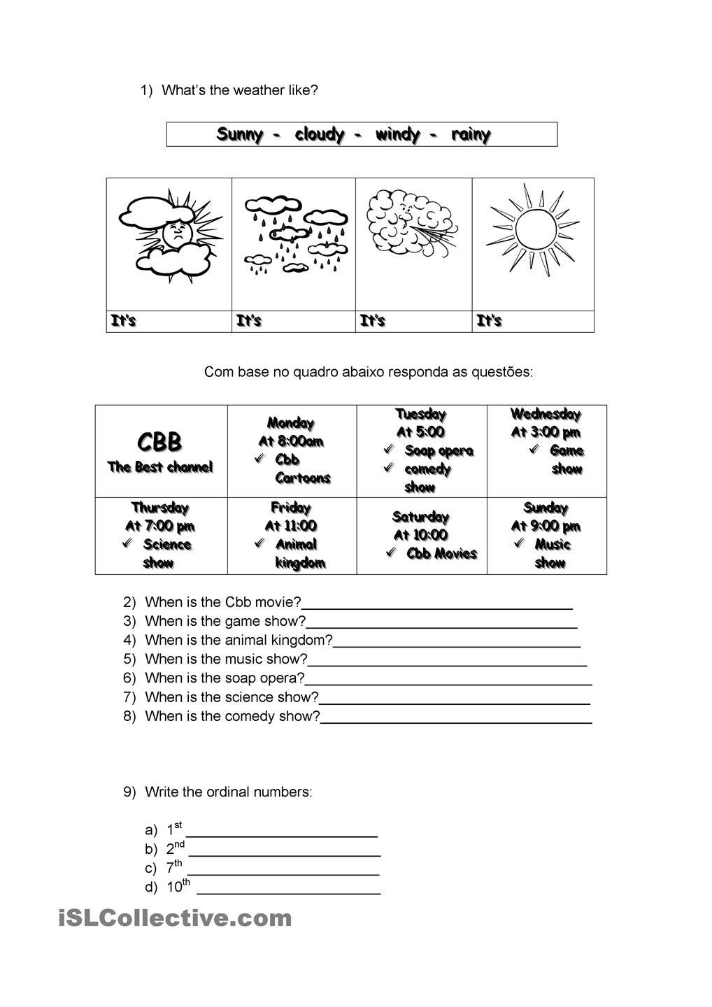 Weather Worksheets for 2nd Grade Weather Days Of Week ordinal Numbers and Seasons