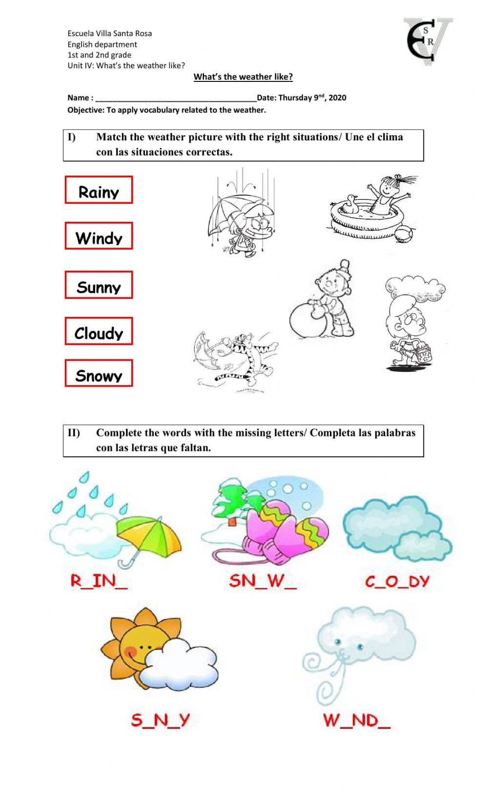Weather Worksheets for 2nd Grade What S the Weather Like 2 Interactive Worksheet