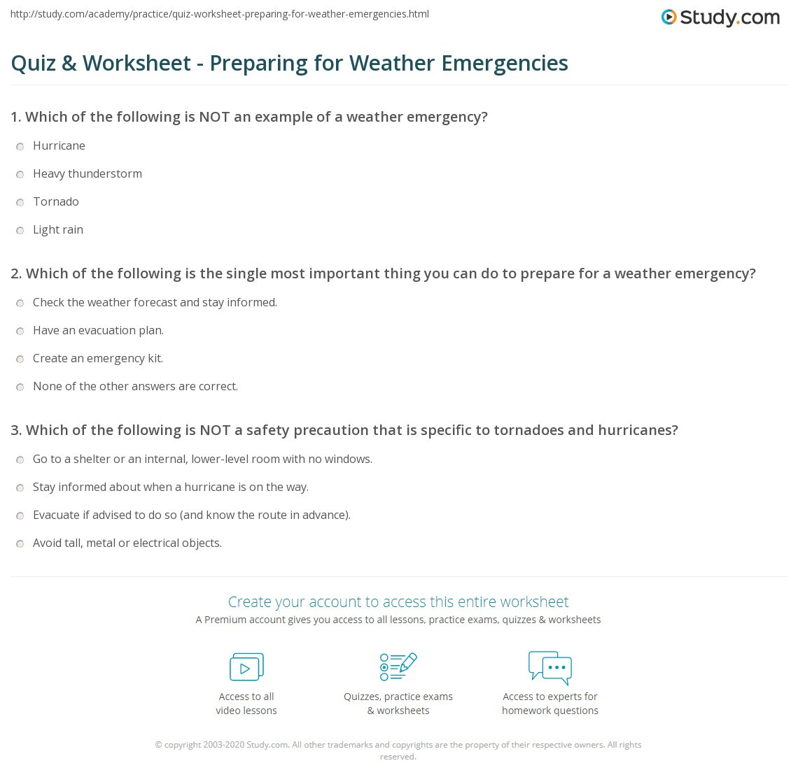 Weather Worksheets for Middle School Quiz & Worksheet Preparing for Weather Emergencies