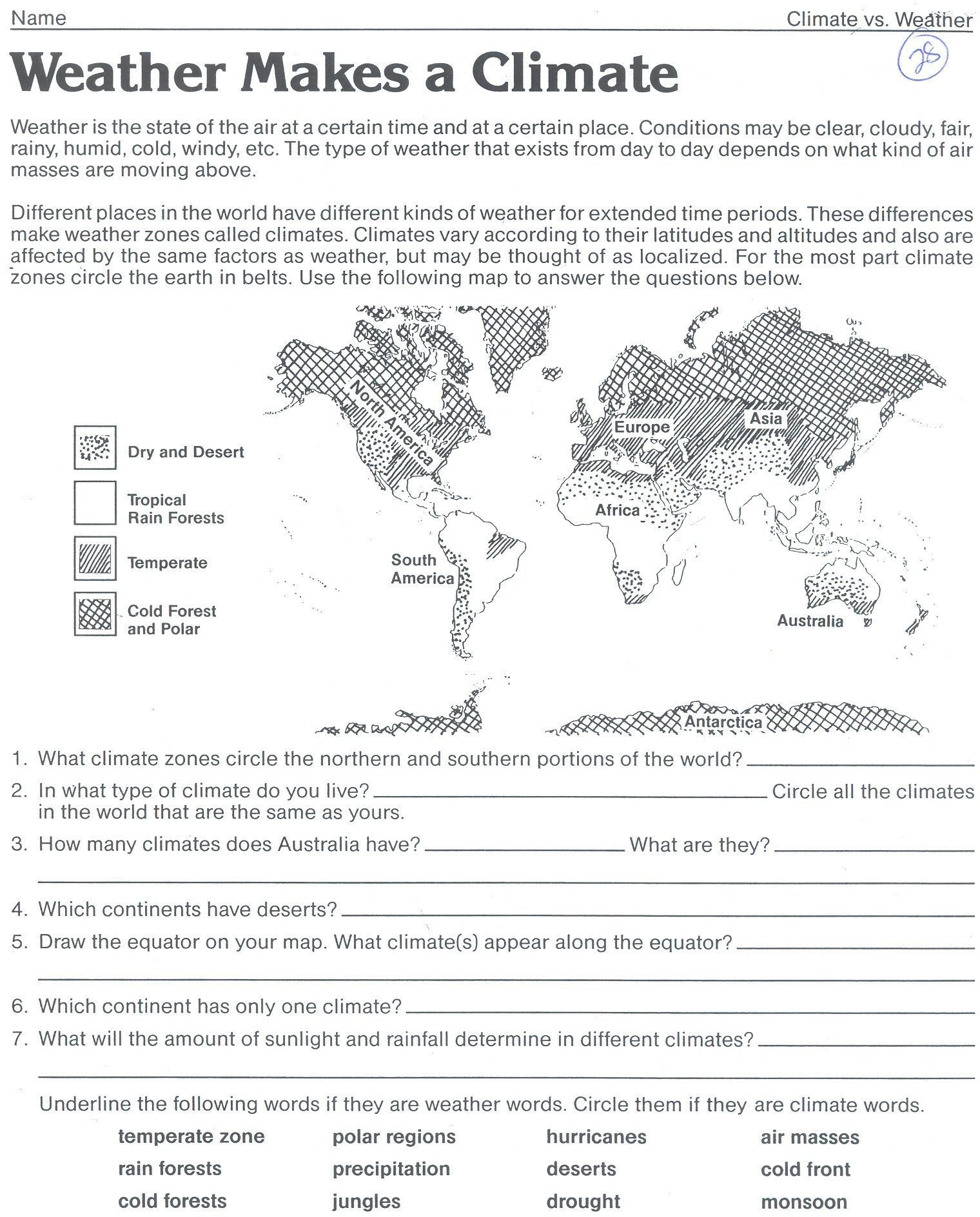 Weather Worksheets for Middle School Weather Makes A Climate Worksheet Classroom Weather