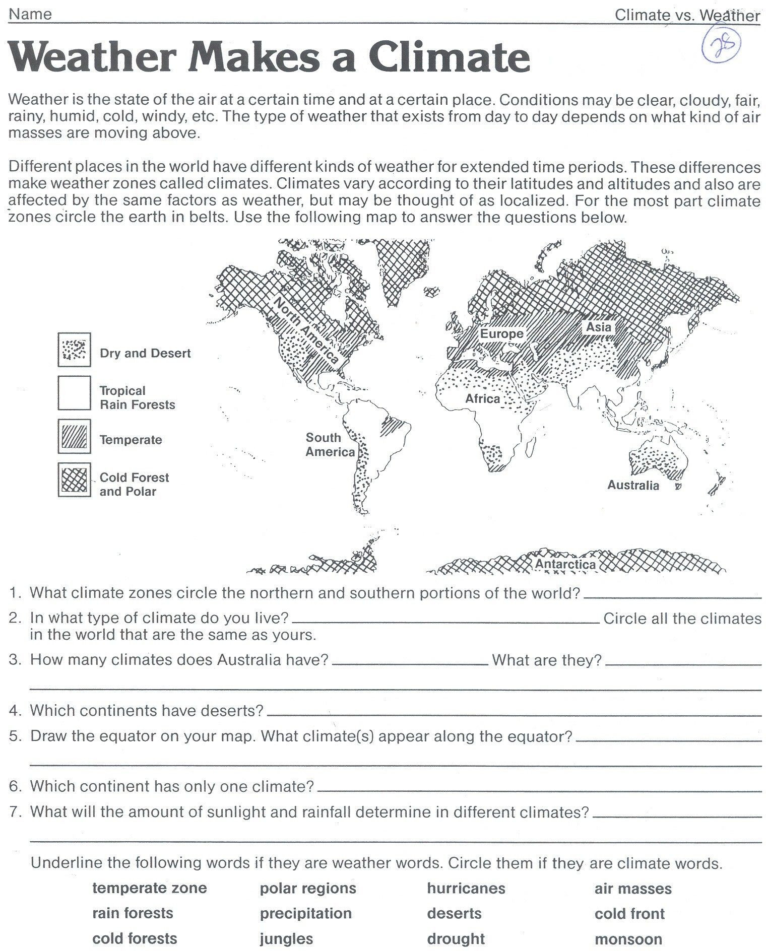 Weather Worksheets for Middle School Weather Map Valid Science Worksheet