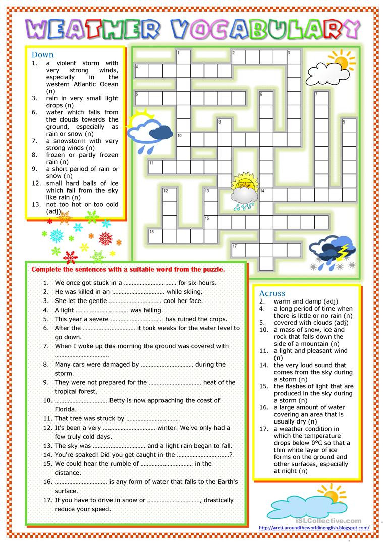Weather Worksheets for Middle School Weather Vocabulary English Esl Worksheets for Distance