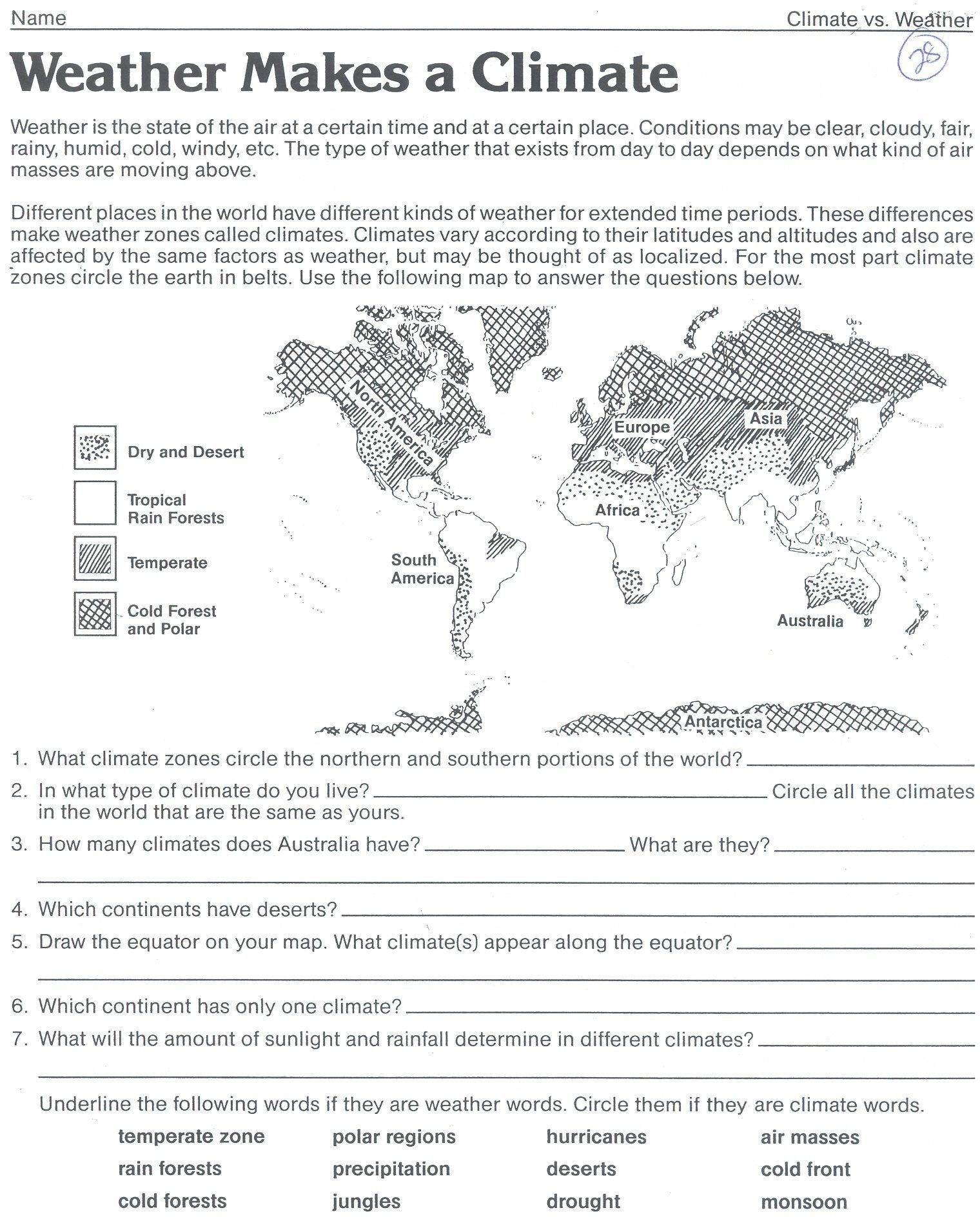 Weather Worksheets for Middle School Weather Worksheet Save Climate Zones