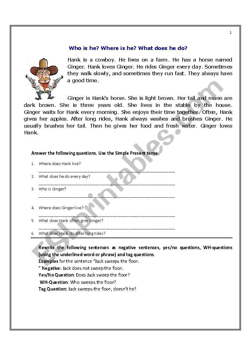 Wh Questions Reading Comprehension Worksheets Present Simple Stories for Reading Prehension Esl