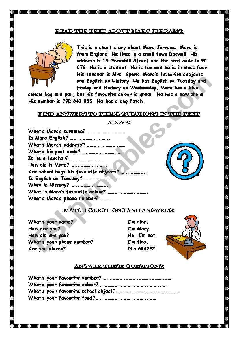 Wh Questions Reading Comprehension Worksheets Reading Prehension Wh Questions Esl Worksheet by Marywell