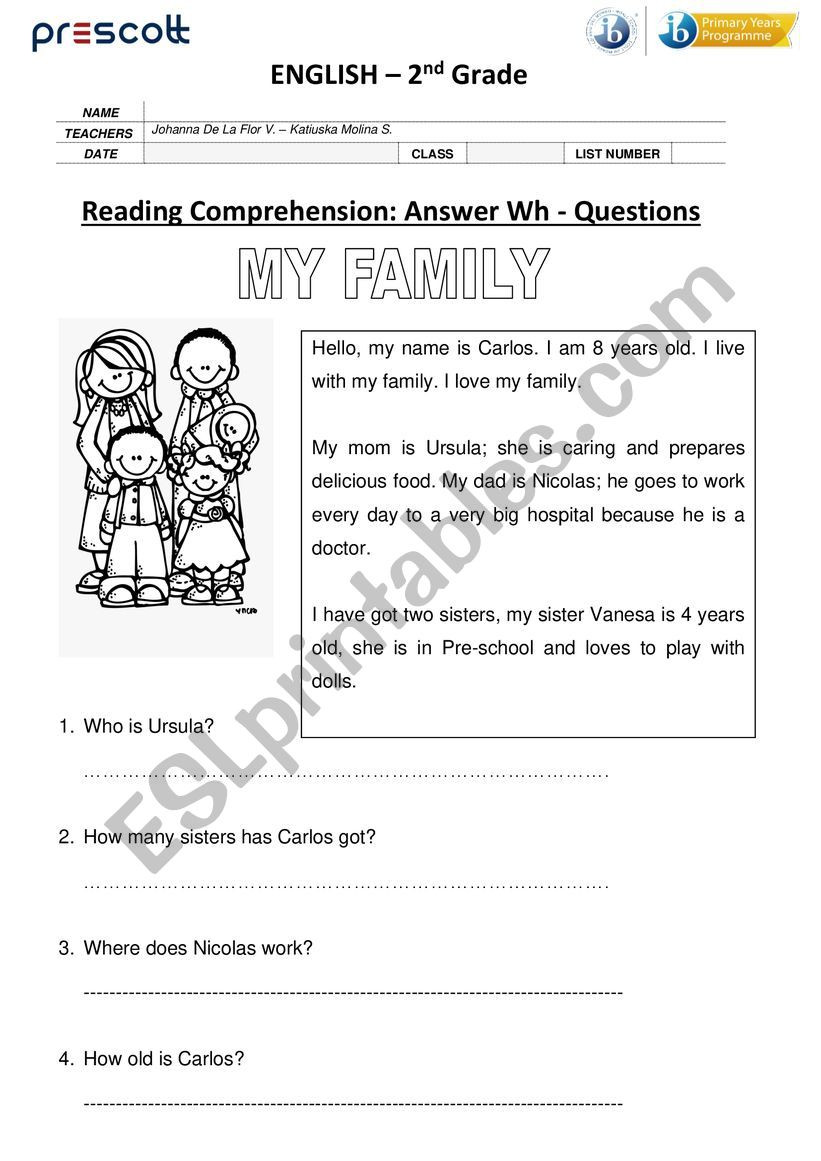 Wh Questions Reading Comprehension Worksheets Reading Prehension Wh Questions Esl Worksheet by