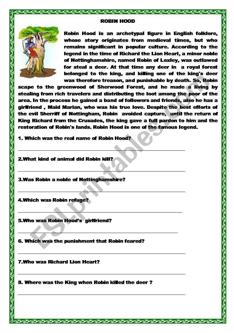 Wh Questions Reading Comprehension Worksheets Robin Hood Reading and Wh Questions Match Esl Worksheet
