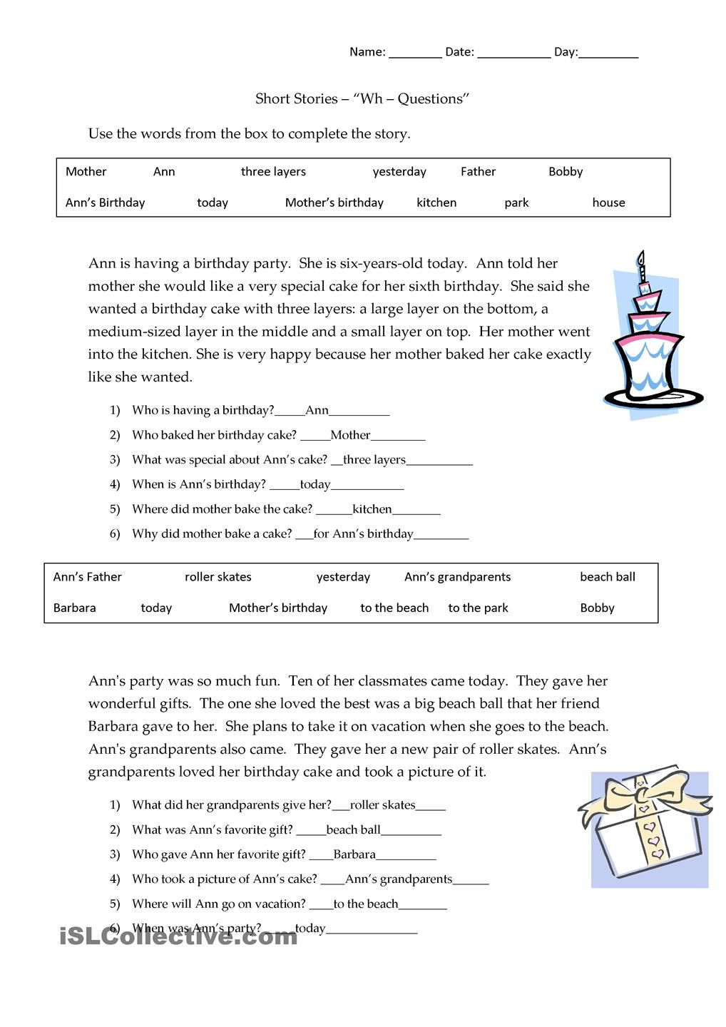 Wh Questions Reading Comprehension Worksheets Short Stories Wh Questions Answers