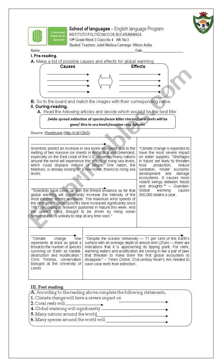 Wilson Reading Program Worksheets Causes and Effects Esl Worksheet by Wilson Quintero Ardila