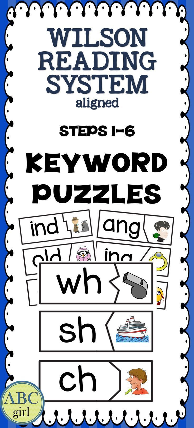 Wilson Reading Program Worksheets Reading System Keyword Matching Puzzles for Steps 1 6