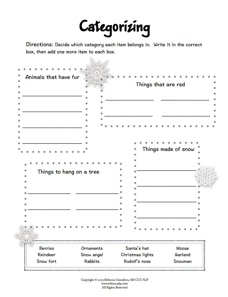 Winter Reading Comprehension Worksheets Freebie Expressive Language Worksheets Winter Speech therapy