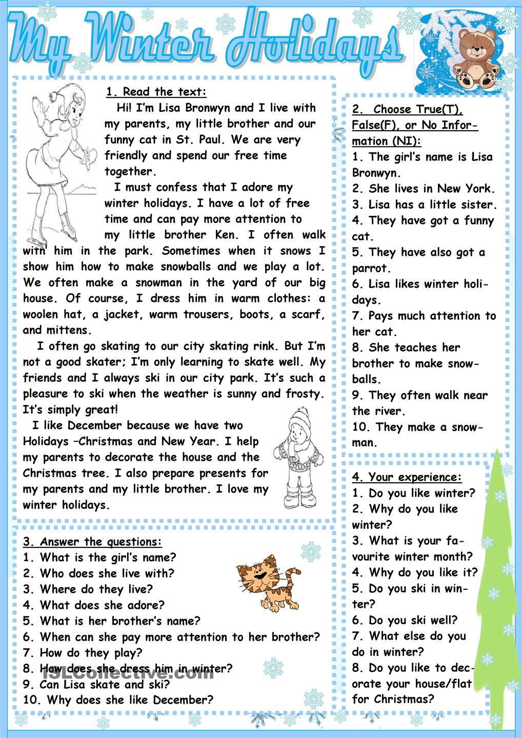 Winter Reading Comprehension Worksheets My Winter Holidays