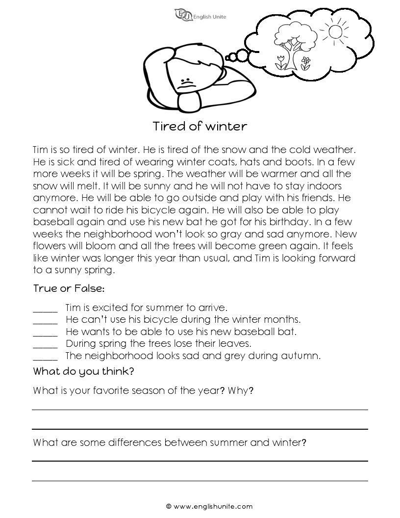 Winter Reading Comprehension Worksheets Short Story Tired Of Winter English Unite