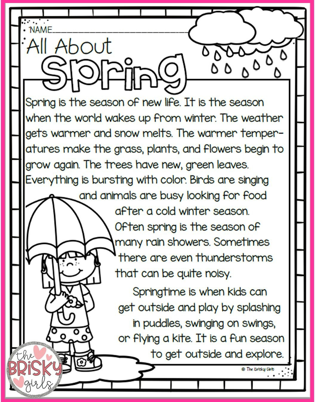 Winter Reading Comprehension Worksheets the Four Seasons Spring Summer Fall Winter Seasons