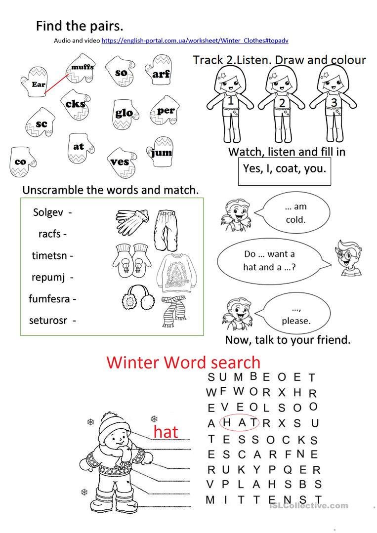 Winter Reading Comprehension Worksheets Winter Clothes Worksheet with Listening Reading Speaking
