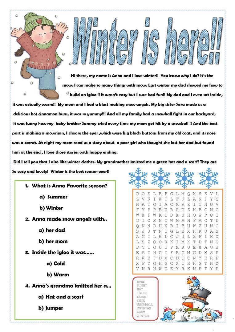 Winter Reading Comprehension Worksheets Winter is Here