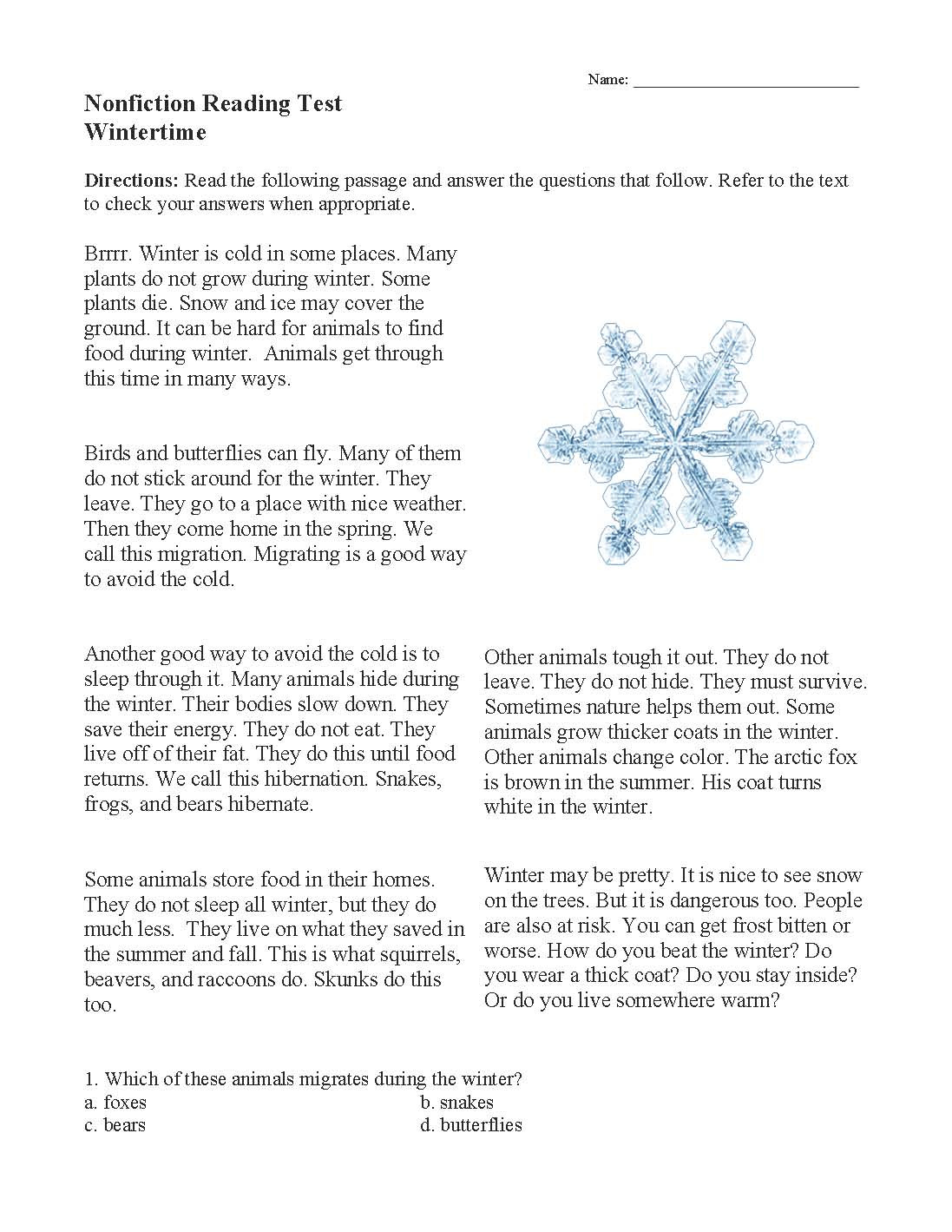 Winter Reading Comprehension Worksheets Wintertime