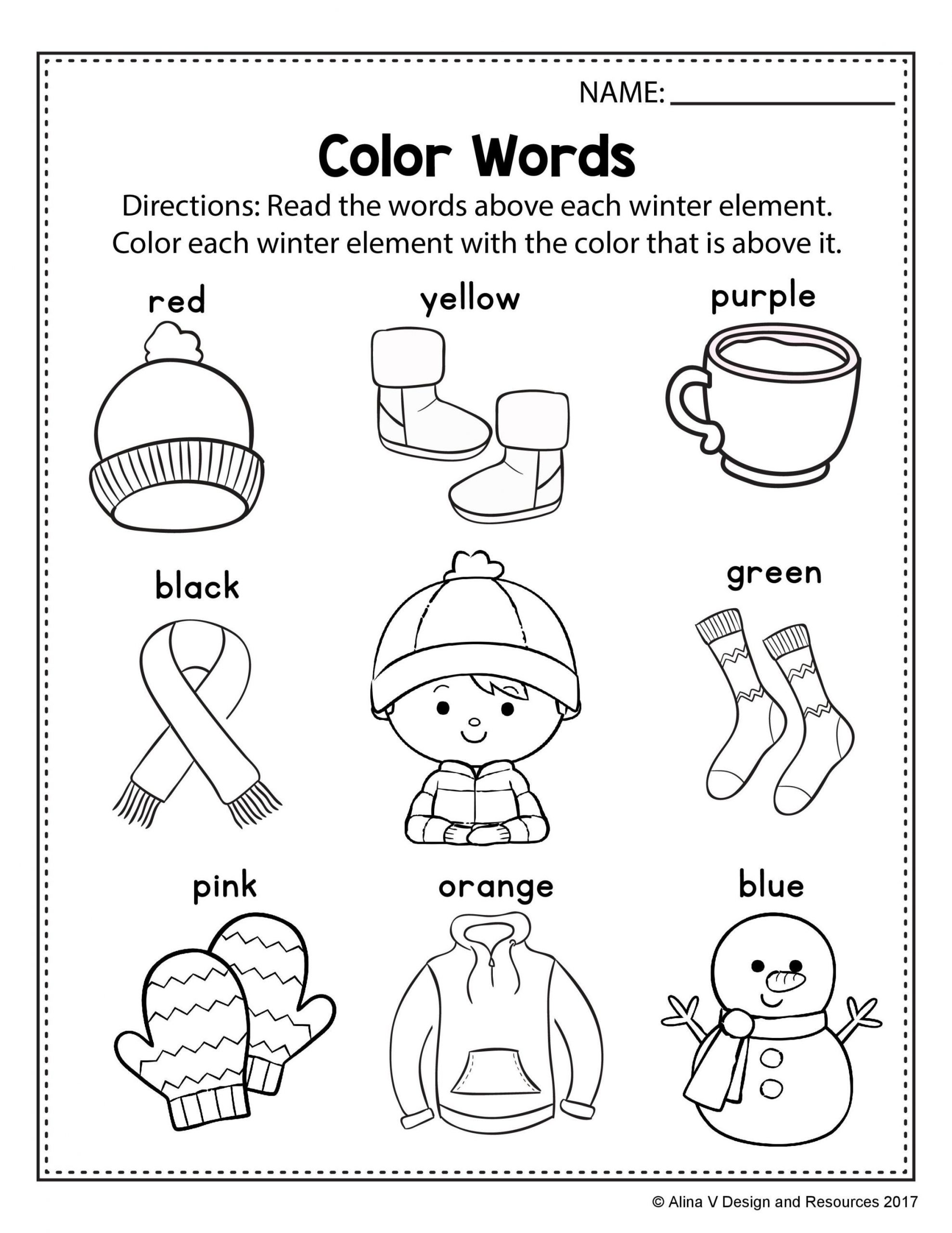 Winter Worksheets for First Grade Free Winter Literacy Worksheet for Kindergarten No Prep