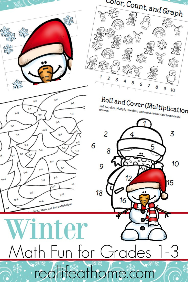 Winter Worksheets for First Grade Fun Printable Packet Of Winter Math Worksheets for 1st 3rd