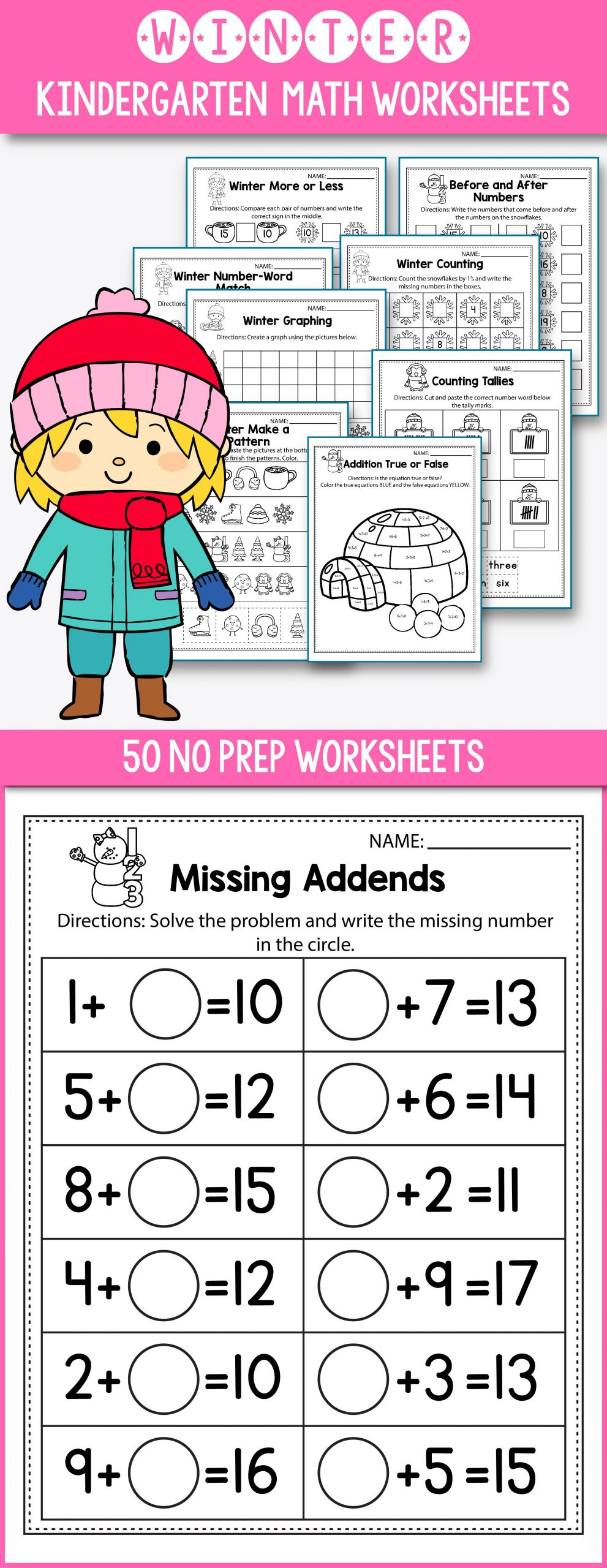 Winter Worksheets for First Grade Winter Activities for Kindergarten Math No Prep Winter